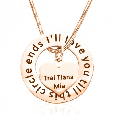 Personalised Circle My Heart Necklace - 18ct Rose Gold Plated - Crafted By Birthstone Design™