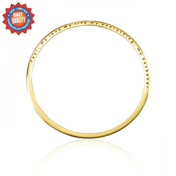 Personalised Classic Bangle - 18ct Gold Plated - Crafted By Birthstone Design™