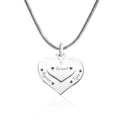 Personalised Double Heart Necklace - Sterling Silver - Crafted By Birthstone Design™