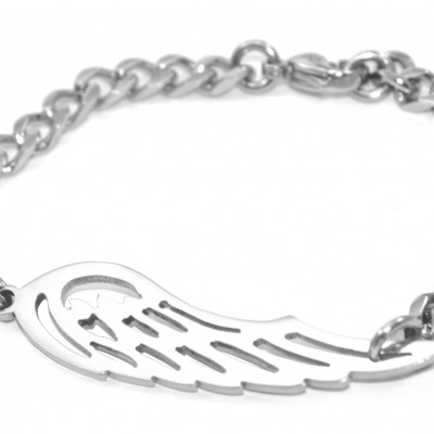 Personalised Angels Wing Bracelet - Silver - Crafted By Birthstone Design™