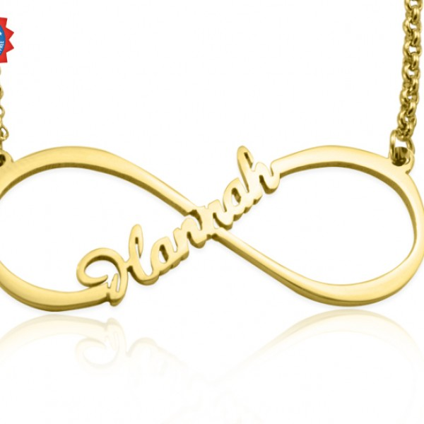 Personalised Single Infinity Name Necklace - 18ct Gold Plated - Crafted By Birthstone Design™