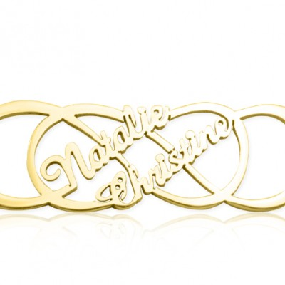 Personalised Infinity X Infinity Name Necklace - 18ct Gold Plated - Crafted By Birthstone Design™