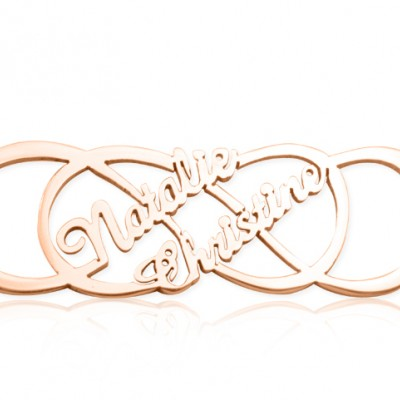 Personalised Infinity X Infinity Name Necklace - 18ct Rose Gold Plated - Crafted By Birthstone Design™