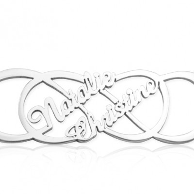 Personalised Infinity X Infinity Name Necklace - Sterling Silver - Crafted By Birthstone Design™