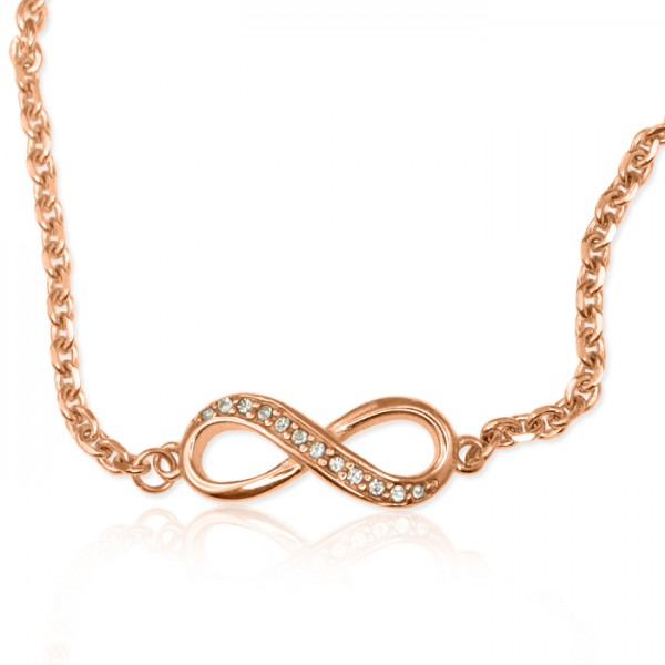 Personalised  Crystal Infinity Bracelet/Anklet - 18ct Rose Gold Plated - Crafted By Birthstone Design™