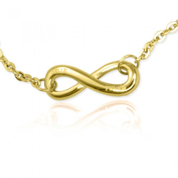 Personalised Classic  Infinity Bracelet/Anklet - 18ct Gold Plated - Crafted By Birthstone Design™
