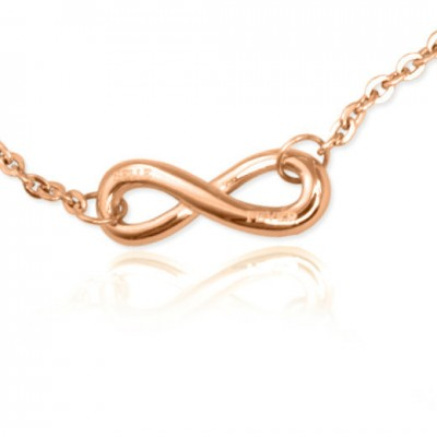 Personalised Classic  Infinity Bracelet/Anklet - 18ct Rose Gold Plated - Crafted By Birthstone Design™