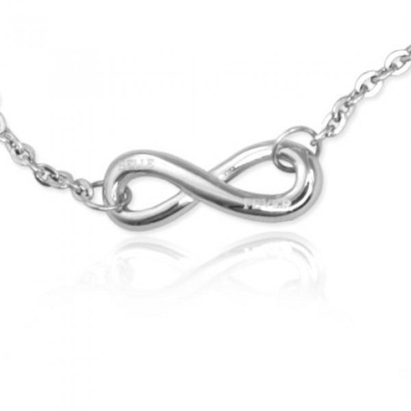 Personalised Classic  Infinity Bracelet/Anklet - Sterling Silver - Crafted By Birthstone Design™