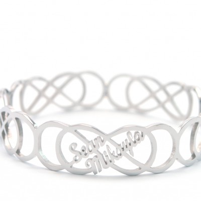 Personalised Endless Double Infinity Bangles - Crafted By Birthstone Design™