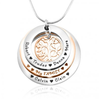 Personalised Family Triple Love - Two Tone - Rose Gold n Silver - Crafted By Birthstone Design™