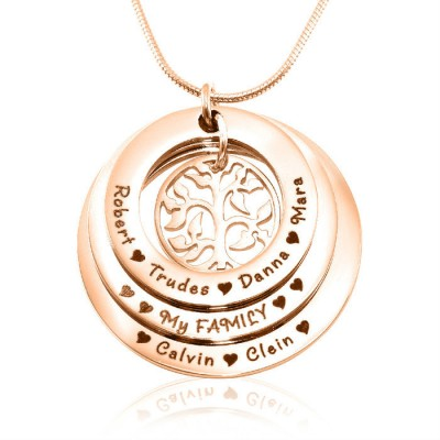 Personalised Family Triple Love - 18ct Rose Gold Plated - Crafted By Birthstone Design™