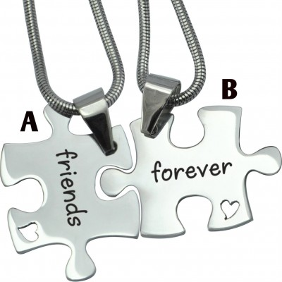 Personalised Forever Friends Puzzle Two Necklaces - Crafted By Birthstone Design™