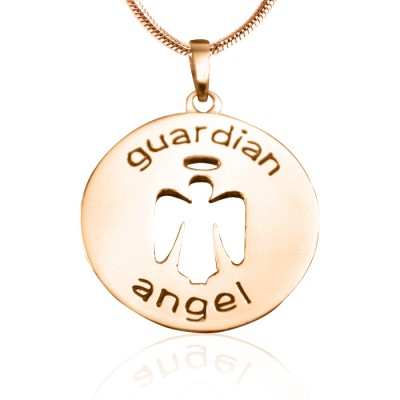 Personalised Guardian Angel Necklace 1 - 18ct Rose Gold Plated - Crafted By Birthstone Design™