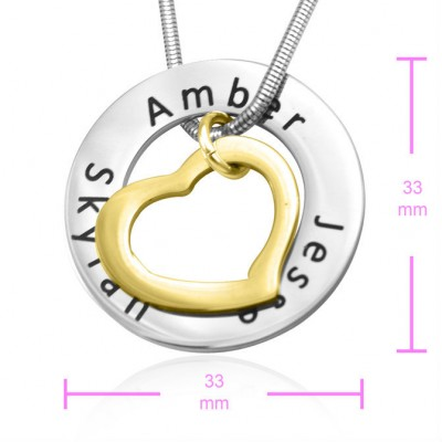 Personalised Heart Washer Necklace - TWO TONE - Gold  Silver - Crafted By Birthstone Design™