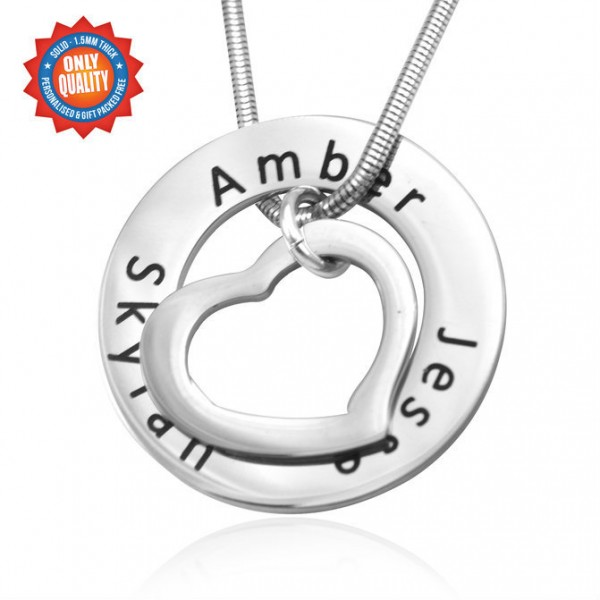 Personalised Heart Washer Necklace - Crafted By Birthstone Design™