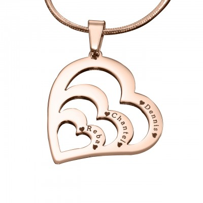 Personalised Hearts of Love Necklace - 18ct Rose Gold Plated - Crafted By Birthstone Design™