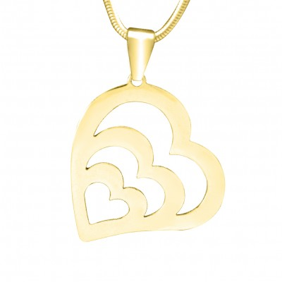 Personalised Hearts of Love Necklace - 18ct Gold Plated - Crafted By Birthstone Design™
