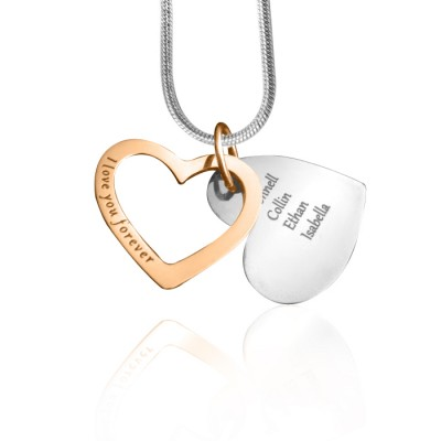 Personalised Love Forever Necklace - Two Tone - Rose Gold  Silver - Crafted By Birthstone Design™