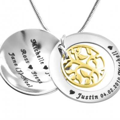 Personalised My Family Tree Dome Necklace - Two Tone - Gold Tree - Crafted By Birthstone Design™