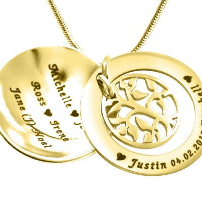 Personalised My Family Tree Dome Necklace - 18ct Gold Plated - Crafted By Birthstone Design™