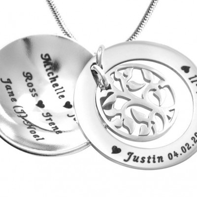 Personalised My Family Tree Dome Necklace - Sterling Silver - Crafted By Birthstone Design™