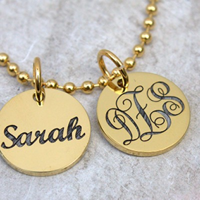 Personalised Monogram Initial Disc Necklace - Crafted By Birthstone Design™