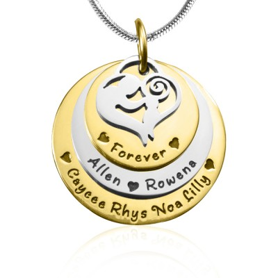 Personalised Mother's Disc Triple Necklace - TWO TONE - Gold  Silver - Crafted By Birthstone Design™