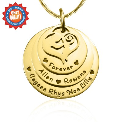 Personalised Mother's Disc Triple Necklace - 18ct Gold Plated - Crafted By Birthstone Design™