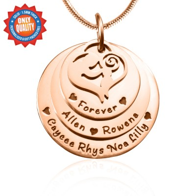 Personalised Mother's Disc Triple Necklace - 18ct Rose Gold Plated - Crafted By Birthstone Design™