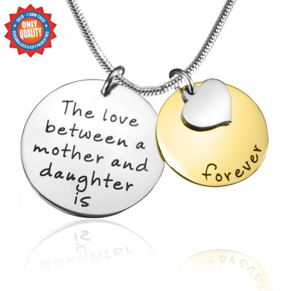 Personalised Mother Forever Necklace - Two Tone - Gold  Silver - Crafted By Birthstone Design™