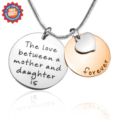 Personalised Mother Forever Necklace - Two Tone - Rose  Silver - Crafted By Birthstone Design™