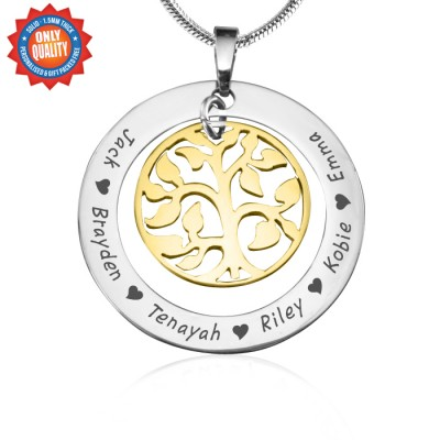 Personalised My Family Tree Necklace - Two Tone - Gold Tree - Crafted By Birthstone Design™