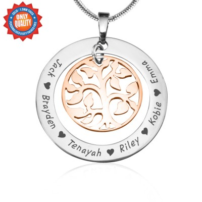 Personalised My Family Tree Necklace - Two Tone - Rose Gold Tree - Crafted By Birthstone Design™