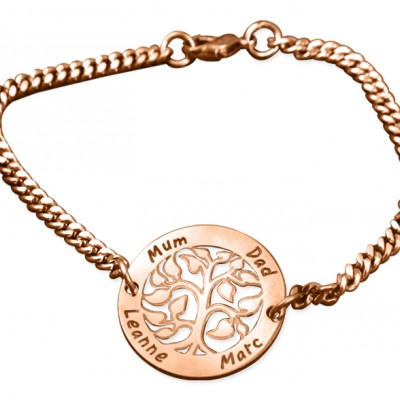 Personalised My Tree Bracelet - 18ct Rose Gold Plated - Crafted By Birthstone Design™