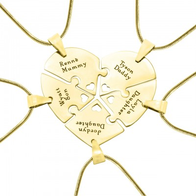 Personalised Penta Heart Puzzle - Five Personalised Necklaces - Crafted By Birthstone Design™