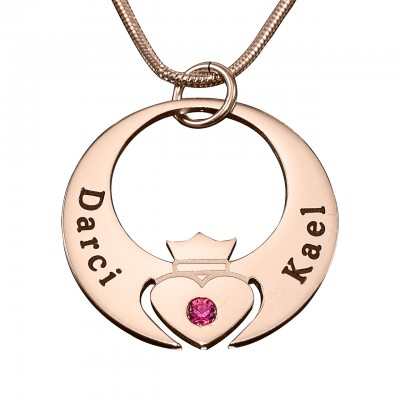 Personalised Queen of My Heart Necklace - 18ct Rose Gold Plated - Crafted By Birthstone Design™