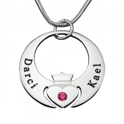 Personalised Queen of My Heart Necklace - Sterling Silver - Crafted By Birthstone Design™
