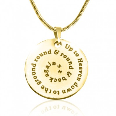 Personalised Swirls of Time Disc Necklace - 18ct Gold Plated - Crafted By Birthstone Design™