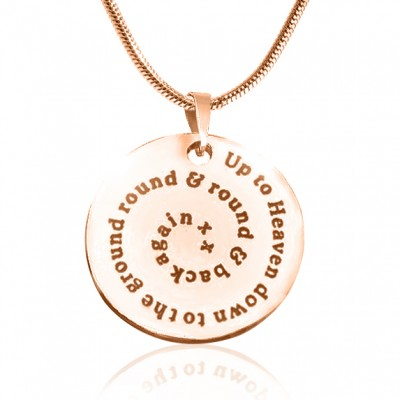 Personalised Swirls of Time Disc Necklace - 18ct Rose Gold Plated - Crafted By Birthstone Design™