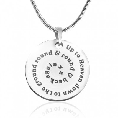 Personalised Swirls of Time Disc Necklace - Sterling Silver - Crafted By Birthstone Design™
