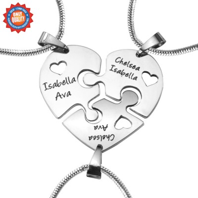 Personalised Triple Heart Puzzle - Three Personalised Necklaces - Crafted By Birthstone Design™