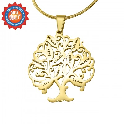 Personalised Tree of My Life Necklace 10 - 18ct Gold Plated - Crafted By Birthstone Design™