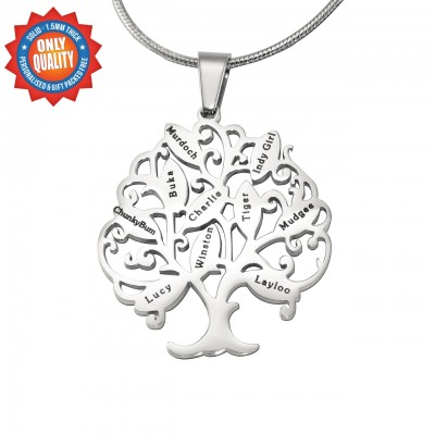 Personalised Tree of My Life Necklace 10 - Sterling Silver - Crafted By Birthstone Design™