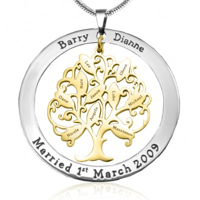 Personalised Tree of My Life Washer 10 - Two Tone - Gold Tree - Crafted By Birthstone Design™