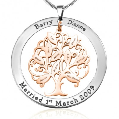 Personalised Tree of My Life Washer 10 - Two Tone - Rose Gold Tree - Crafted By Birthstone Design™