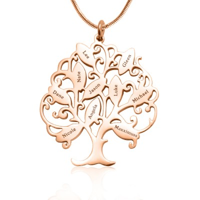 Personalised Tree of My Life Necklace 10 - 18ct Rose Gold Plated - Crafted By Birthstone Design™