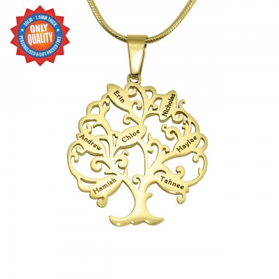 Personalised Tree of My Life Necklace 7 - 18ct Gold Plated - Crafted By Birthstone Design™