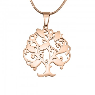 Personalised Tree of My Life Necklace 7 - 18ct Rose Gold Plated - Crafted By Birthstone Design™