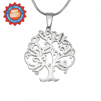 Personalised Tree of My Life Necklace 7 - Sterling Silver - Crafted By Birthstone Design™