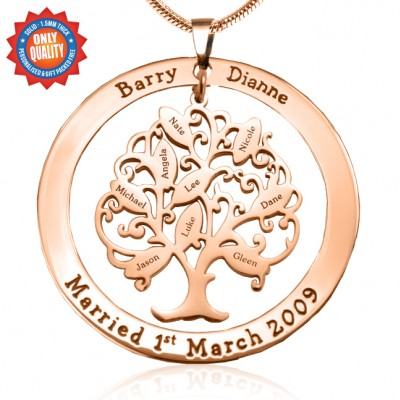 Personalised Tree of My Life Washer 9 - 18ct Rose Gold Plated - Crafted By Birthstone Design™
